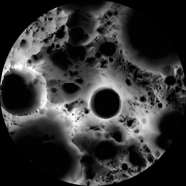 Карта освещения Южного полюса Луны,  созданная по изображениям камеры с борта Лунного разведывательного орбитера