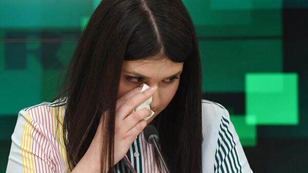 Варвара Караулова во время пресс-конференции в МИА Россия сегодня