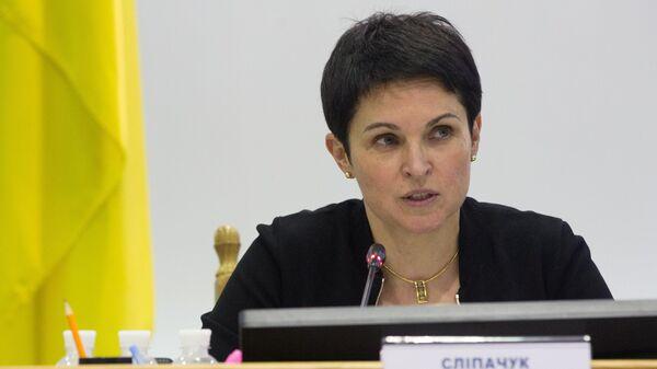 Председатель Центральной избирательной комиссии Украины Татьяна Слипачук во время оглашения итогов выборов президента Украины. 30 апреля 2019