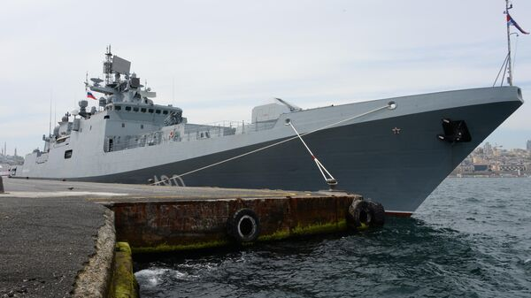 Сторожевой корабль проекта 11356 Адмирал Эссен Черноморского флота на международной выставке оборонной промышленности IDEF-2019 в Стамбуле