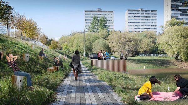 Проектное решение по благоустройству Черкизовского пруда в Москве