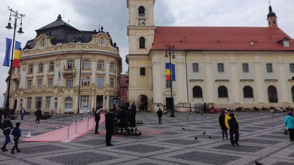Центральная площадь в Румынском городе Сибиу, где проходит саммит ЕС. 9 мая 2019
