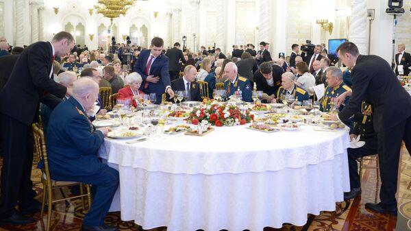 Президент РФ Владимир Путин выступает на торжественном приеме по случаю празднования 74-й годовщины Победы в Великой Отечественной войне 1941-1945 годов