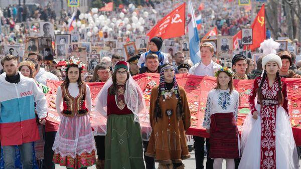 Участники акции Бессмертный полк в городе Петропавловске-Камчатском