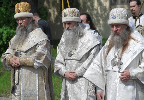 Епископы старообрядческой русской церкви во время праздника в духовном центре старообрядчества Рогожская слобода в Москве