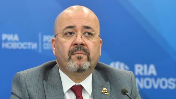 Посол Ирака в России Хайдар Мансур Хади во время пресс-конференции в Международном мультимедийном пресс-центре МИА Россия сегодня в Москве. 15 мая 2019