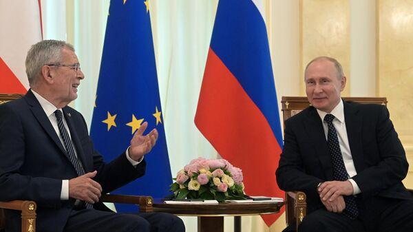 Владимир Путин и федеральный президент Австрийской Республики Александр Ван дер Беллен во время встречи. 15 мая 2019