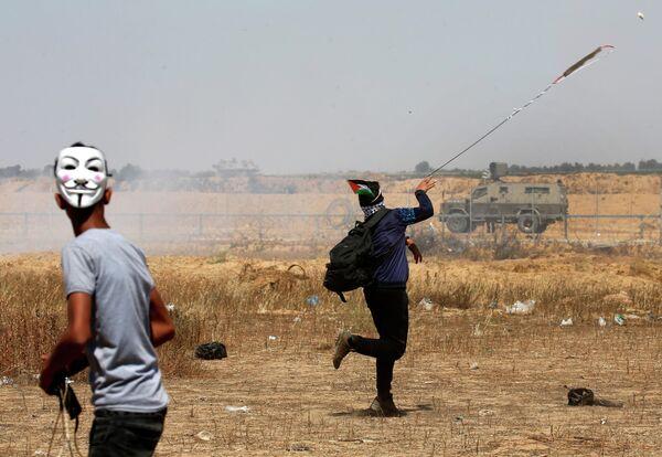 Палестинские демонстранты в Газе