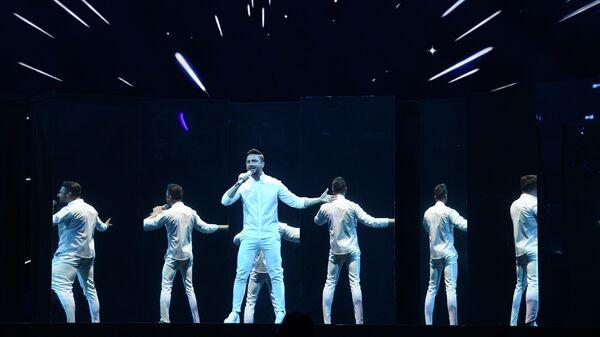 Певец Сергей Лазарев во время репетиции финала международного конкурса Евровидение-2019
