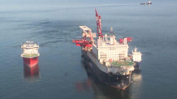 Укладка труб Северного потока - 2 в Балтийском море