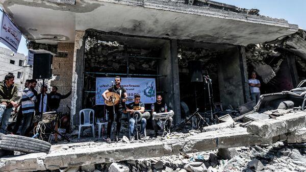 Палестинские музыканты выступают в Секторе Газа с призывом бойкотировать проходящий в Израиле конкурс Евровидение