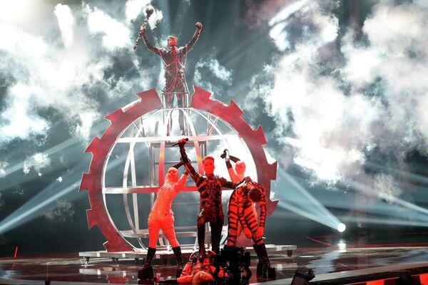 Группа Hatari (Исландия) в финале международного конкурса Евровидение-2019