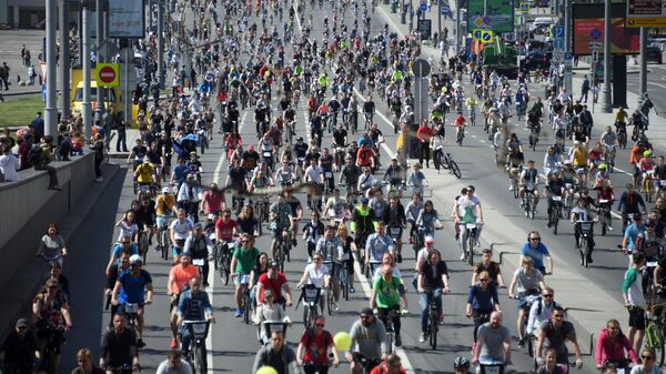 Участники Московского весеннего велофестиваля. 19 мая 2019