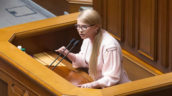 Лидер партии Батькивщина Юлия Тимошенко выступает на заседании Верховной рады Украины. Архивное фото