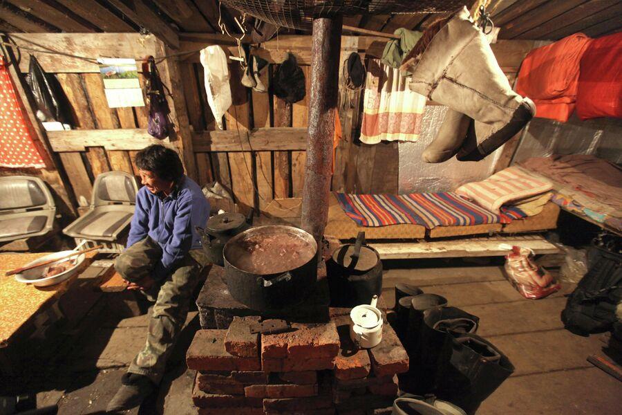 Охотник в охотничьем домике на мысе Аккани готовит мясо моржа, добытого в Чукотском море
