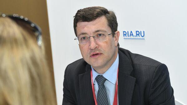 Губернатор Нижегородской области Глеб Никитин во время интервью на стенде МИА Россия сегодня на Петербургском международном экономическом форуме-2019