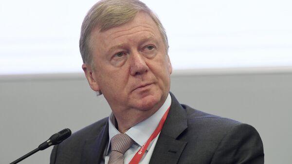 Глава РОСНАНО Анатолий Чубайс на сессии Россия – Финляндия в рамках ПМЭФ-2019