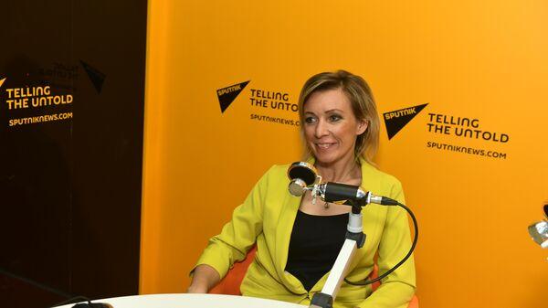 Директор департамента информации и печати Министерства иностранных дел Российской Федерации Мария Захарова во время интервью радио Sputnik в рамках ПМЭФ-2019.