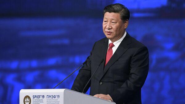 Председатель Китайской Народной Республики Си Цзиньпин на пленарном заседании Петербургского международного экономического форума 2019 (ПМЭФ-2019)