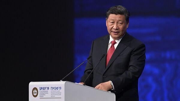 Председатель Китайской Народной Республики Си Цзиньпин на пленарном заседании Петербургского международного экономического форума 2019