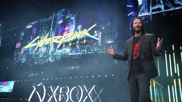 Актер Киану Ривз в рамках пресс-конференции Microsoft на выставке Е3 2019 объявляет дату выхода игры Cyberpunk 2077