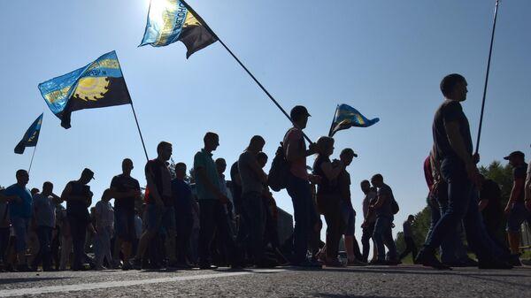 Участники акции протеста шахтеров  во Львове, которые выступают против задержек выплаты зарплат. 10 июня 2019