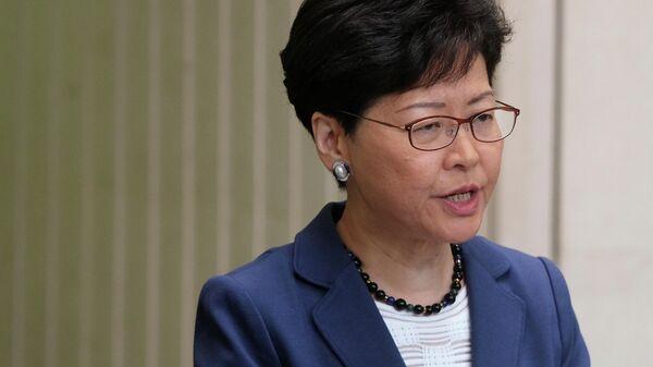Глава исполнительной власти Гонконга Керри Лам на пресс-конференции. 10 июня 2019
