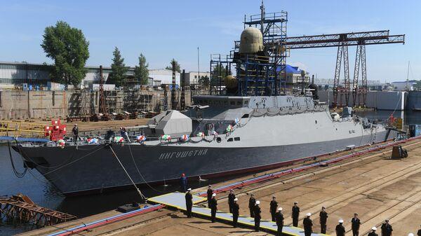 Спуск на воду малого ракетного корабля  Ингушетия в Казани. 11 июня 2019