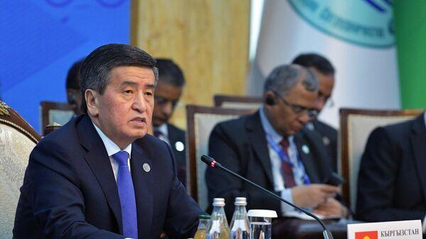 Президент Киргизии Сооронбай Жээнбеков принимает участие в заседании Совета глав государств - членов Шанхайской организации сотрудничества в расширенном составе в государственной резиденции Ала-Арча в Бишкеке. 14 июня 2019