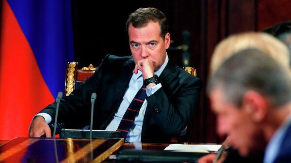 Председатель правительства РФ РФ Дмитрий Медведев проводит совещание с вице-премьерами РФ. 17 июня 2019