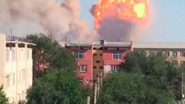 Пожар в воинской части в населенном пункте Арысь в Казахстане