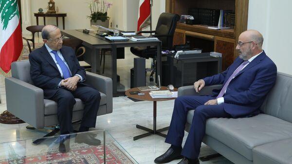 Встреча в Бейруте президента Ливана Мишеля Ауна с делегацией от конгресса США по Сирии. 24 июня 2019