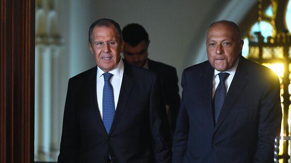 Министр иностранных дел РФ Сергей Лавров и министр иностранных дел Арабской Республики Египет Самех Шукри