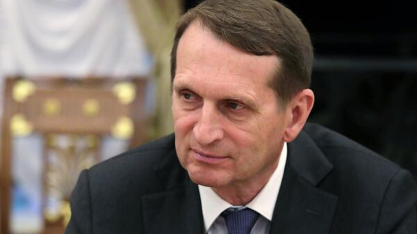 Директор Службы внешней разведки   Сергей Нарышкин во время совещания президента РФ с постоянными членами Совета безопасности РФ.