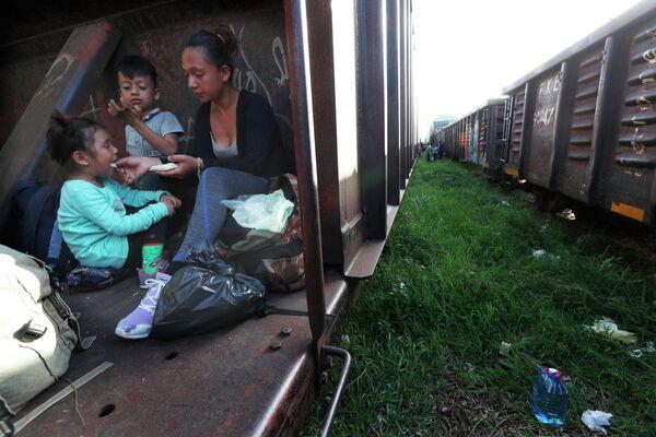 Мигранты едут на грузовом поезде на север, штат Чьяпас, Мексика