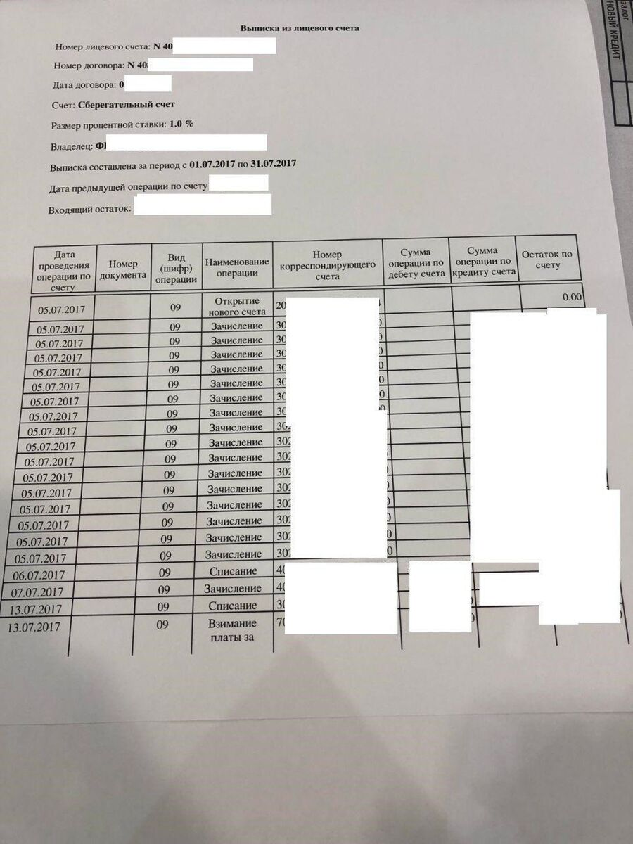 Такой пример выписки по счету пробивщики присылают потенциальным клиентам