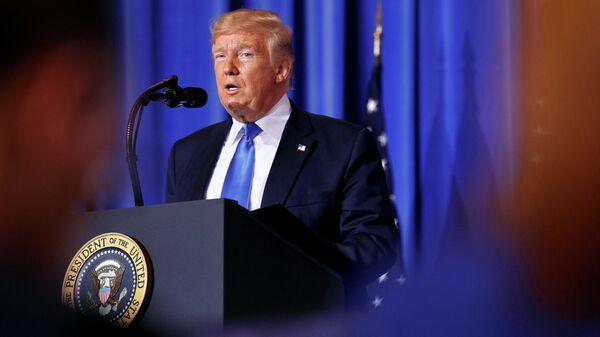 Президент США Дональд Трамп выступает во время пресс-конференции в Осаке, Япония. 29 июня 2019