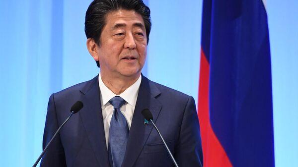 Премьер-министр Японии Синдзо Абэ на совместной с президентом РФ Владимиром Путиным пресс-конференции по итогам встречи в Осаке. 29 июня 2019