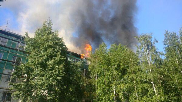 Ликвидация возгорания кровли пятиэтажного жилого дома в Нижневартовске
