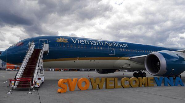 Торжественная встреча самолета авиакомпании Vietnam Airlines в Международном аэропорту Шереметьево. 2 июля 2019