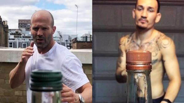 Участники флешмоба Bottle Cap Challenge: актер Джейстон Стэтем и боец MMA Макс Холлоуэй
