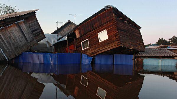 Унесенный паводком дом в городе Тулун в Иркутской области