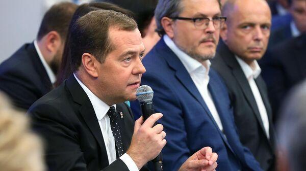 Председатель Единой России, председатель правительства РФ Дмитрий Медведев на пленарном заседании политической конференции Единой России. 5 июля 2019