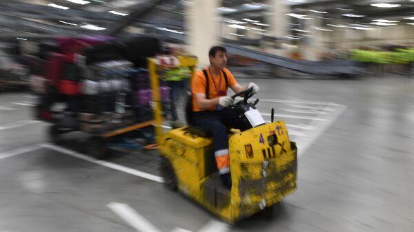 Сотрудник багажной службы во время работы в аэропорту