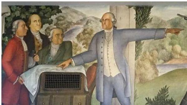 Фрагмент фрески Жизнь Вашингтона, созданной Виктором Арнаутовым