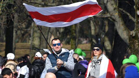 Участники акции День воли, приуроченной к годовщине создания Белорусской народной республики