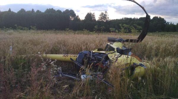 Место жесткой посадки вертолета Robinson в Подмосковье