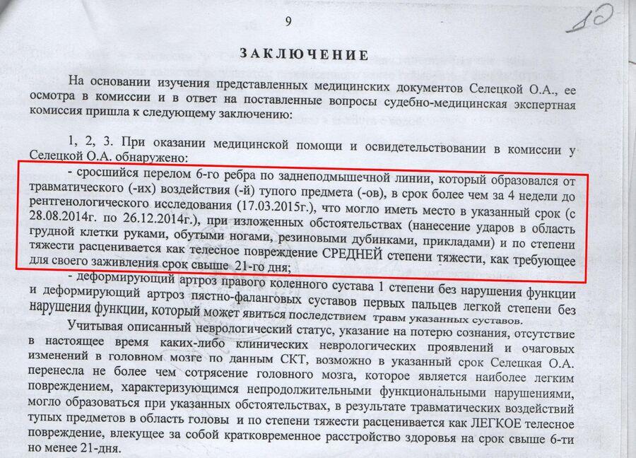 Документы Ольги Селецкой