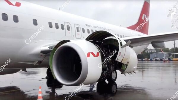 Самолет Boeing 737-800 авиакомпании Nordwind, на борту которого произошло задымление в аэропорту Шереметьево