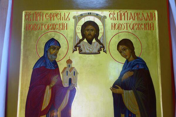 Преподобные Ефрем и Аркадий Новоторжские. Икона в Тихвинском храме г. Торжок